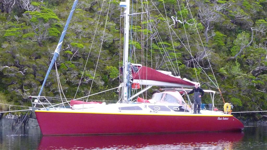 Sailing boat and skipper in Patagonia