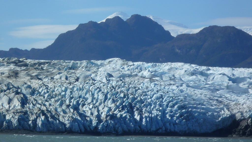 A glacier in Patagonia channels